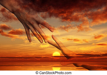 Hope of peace. Hands on the ocean sunrise background