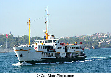 Ship in istanbul - A ship acrossing the bosporus in istanbul...