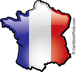 France - An artistic rentering of this countrys map and flag...