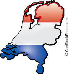 Netherlands - An artistic rentering of this countrys map and...
