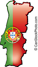 Portugal - An artistic rentering of this countrys map and...