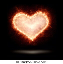 glowing heart isolated