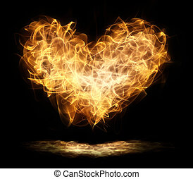 heart in flames against the blackness