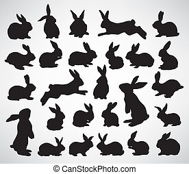 rabbit silhouettes - collection of rabbit silhouettes