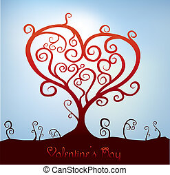 valentine tree - abstract heart shaped valentine tree