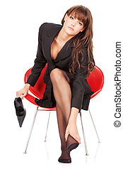 mujer, elasticidad, ella misma, pie, masaje