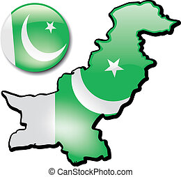 Pakistan - An artistic rendering of this countrys map and...
