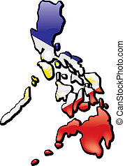 Philipines - An artistic rendering of this country's map and...