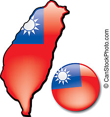 Taiwan - An artistic rendering of this countrys map and flag...