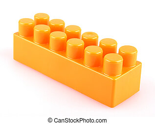 Plastic toy blocks on white background