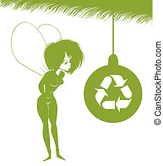 Green Fairy is looking at Christmas toy with the sign of eco...