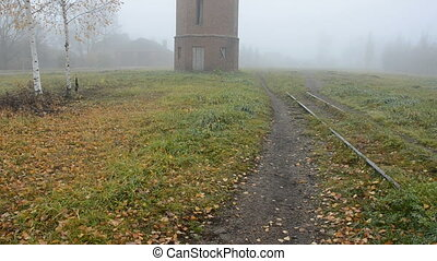 old tower in the derelict railway