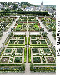 Gardens at the Chateau de Villandry - Vegetable gardens at...