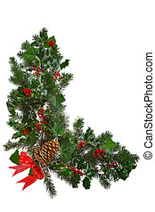 Christmas garland L shaped with bow isolated. - Photo of a...