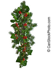 Straight Christmas garland isolated - Photo of a straight...