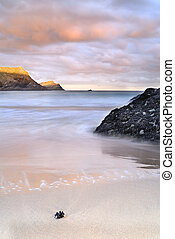 Red Sky In The Morning, Cornwall. - Slow shutter seascape....