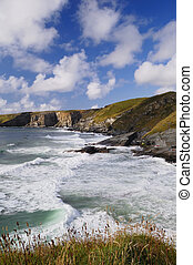 Stormy Sea and Blue Sky, Trebarwith Strand, Cornwall, UK. -...
