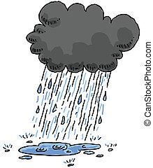 Rain - A dark, cartoon cloud rains and creates a puddle.