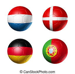 soccer UEFA euro 2012 cup - group B flags on soccer balls