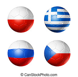 soccer UEFA euro 2012 cup - group A flags on soccer balls
