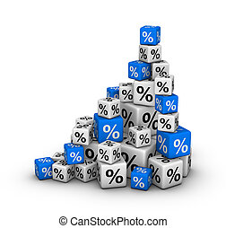 Stack of boxes with percent sign sales or finance concept