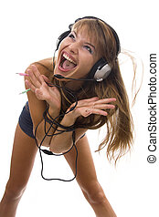 Beautiful Woman Listening Music and dancing