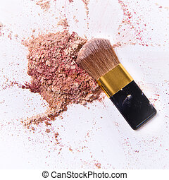 crushed eyeshadow - mixed eyeshadow on white background