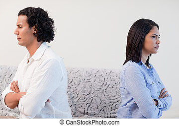Couple angry at each other - Young couple angry at each...