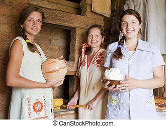 Women with country meal - Women with country home-made meal...
