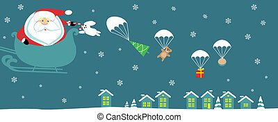 Cartoon Santa with bell in sleight dropping presents with...