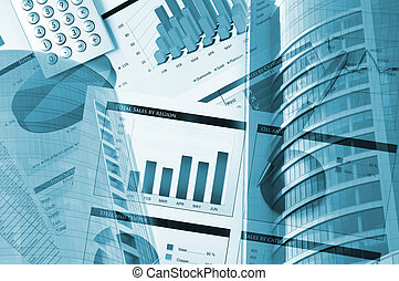 building, financial chart , business collage - Office...