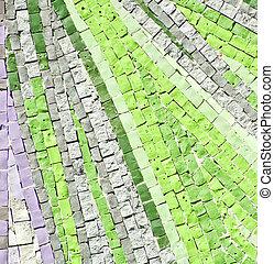 sten, grön, mosaik