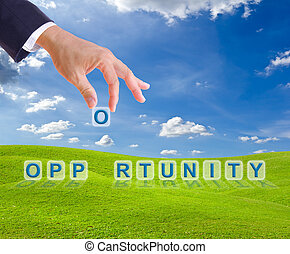 business man hand made opportunity word buttons on green...