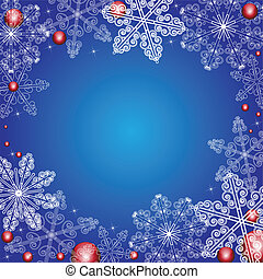 Winter background with snowflakes and balls