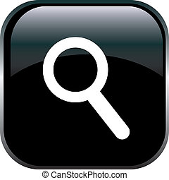 magnifying glass icon - Magnifying Glass Icon on Square...
