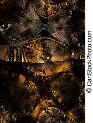 Grunge Bridge Abstract - Grunge Dark Textured Bridge...