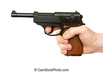 Hand with pistol isolated on the white background