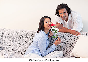 Couple in the living room together on valentines day