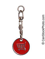 shopping trolley token on white background