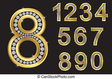 Number set, from 1 to 9, golden with diamonds, vector...