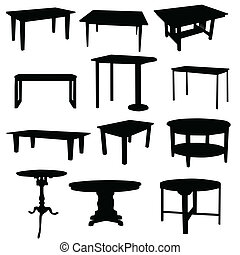 tables for home in black color silhouette on white