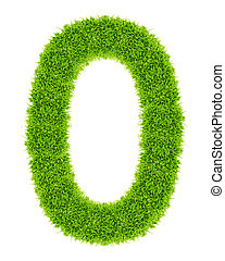 green grass letter O Isolated