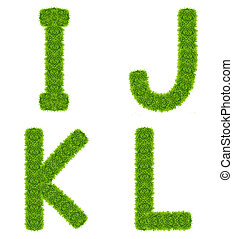 green grass letter ijkl isolated