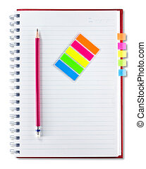 red notebook , pencil and set of indexing isolated