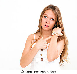 young woman checking the time - beautiful young woman...