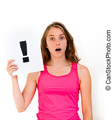 board exclamation point - portrait young woman with board...