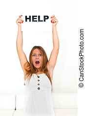 board HELP - NEED HELP? portrait young woman with board HELP