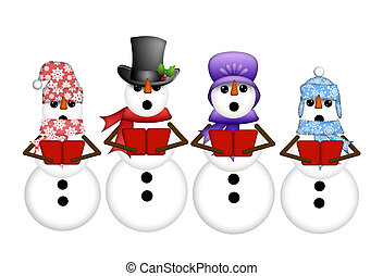 Snowman Carolers Singing Christmas Songs Illustration...