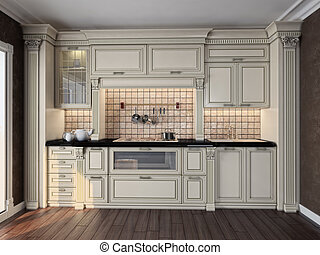 kitchen interior - luxury kitchen interior 3D rendering