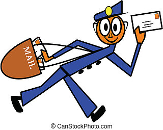 mailman - cartoon mailman delivering important mail at...